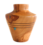MICHAEL EVANS - OLIVE WOOD  HOLLOW FORM W/ TURQUOISE - WOOD - 4.5 X 4.5 X 5