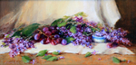AMANDA FISH - SCATTERED LILACS - OIL ON LINEN - 16 X 8