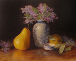 AMANDA FISH - PEARS WITH FLOWERS - OIL ON BOARD - 8 x 10