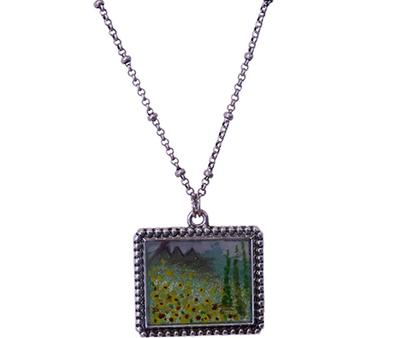 TERRI GALLO - PAINTED FIELD OF SUNFLOWERS NECKLACE - MIXED MEDIA