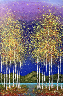 MELISSA GRAVES BROWN - LAKESIDE ASPENS - ACRYLIC ON CANVAS - 24 X 36