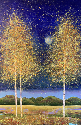 MELISSA GRAVES BROWN - FALL MOONLIGHT - ACRYLIC ON CANVAS - 24 X 36