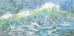 NANCY GOLDMAN - CRESTING WAVE - ENCAUSTIC - 48 X 24