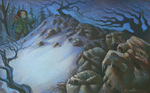 MARY GRANDPRE - FINDING THE ROCKS - PASTEL - 21 X 12.5