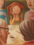 MARY GRANDPRE - GIRL AT TABLE - PASTEL - 9.5 X 12.5