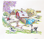 ROBIN PREISS GLASSER - ON THE FARM - MIXED MEDIA ON PAPER - 11 X 9