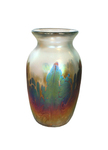 ELAINE HYDE - TALL BUD VASE - GOLD, PURPLE - GLASS - 2.75 X 4.75 X 2.75