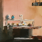 JULIE HILL - SUSHI ANYONE? - WATERCOLOR - 6 X 6