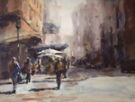 JULIE HILL - LEAVING CHINATOWN - WATERCOLOR - 16 x 12
