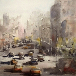 JULIE HILL - TAXI LANE - WATERCOLOR - 6 X 6