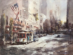 JULIE HILL - POWELL STREET - WATERCOLOR - 16 x 12