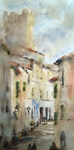JULIE HILL - MALTALCINO, ITALY - WATERCOLOR - 10 X 20