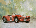 JULIE HILL - # 10, VINTAGE SHELBY COBRA - WATERCOLOR - 16 x 12
