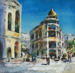 JULIE HILL - MORNING ON RODEO DRIVE - WATERCOLOR - 6 X 6