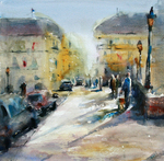 JULIE HILL - A PARISIENNE AFTERNOON - WATERCOLOR - 12 X 12