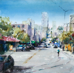 JULIE HILL - SAN FRANCISCO, RIDING THROUGH THE WHARF - WATERCOLOR - 12 X 12