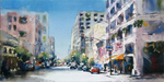 JULIE HILL - 8TH & LOS ANGELES - WATERCOLOR - 16 X 8