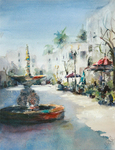 JULIE HILL - SANTA ANA FOUNTAIN - WATERCOLOR - 9 X 12