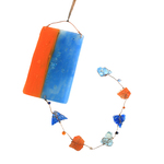 LEONA HAWKS - LIGHT CATCHER ORANGE & BLUE COLOR BLOCK - GLASS - 5.25 X 28.25