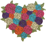 MARY HAMMOND - MULTI-COLOR FIBER HEART - FIBER