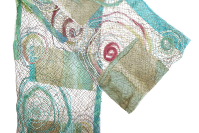 MARY HAMMOND - TURQUOISE TORRENT COLLAGE SCARF - FIBER