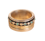 ITHIL METALWORKS - SILVER, OPAL & ETCHED MATTE GOLD SPINNER RING, OXI SHANK - SILVER - 7