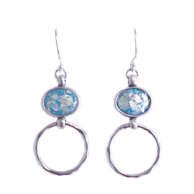 ITHIL METALWORKS - SILVER AND BLUE DANGLE EARRING - STERLING
