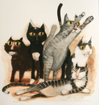 STACY INNERST - FIVE CATS - DIGITAL PRINT - 13 X 13.5
