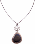 JOANNA CRAFT - BEACH STONE NECKLACE WITH SWIRLING SILVER CHARM - MIXED METALS