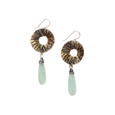 JOANNA CRAFT - GEOMETRIC PATTERN CIRCLE EARRINGS WITH CHALCEDONY DROPS - SILVER & GEMSTONE