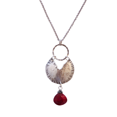 JOANNA CRAFT - GEOMETRIC HAMMERED NECKLACE WITH RUBY DROP - SILVER & GEMSTONE