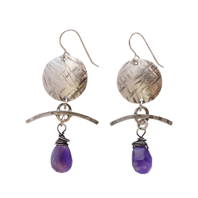 JOANNA CRAFT - TEXTURED CIRCLE & BAR EARRINGS WITH IOLITE - SILVER & GEMSTONE