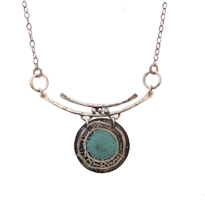 JOANNA CRAFT - LIGHT BLUE & BLACK ENAMEL CIRCLE NECKLACE WITH DOUBLE SILVER BARS - SILVER & ENAMEL