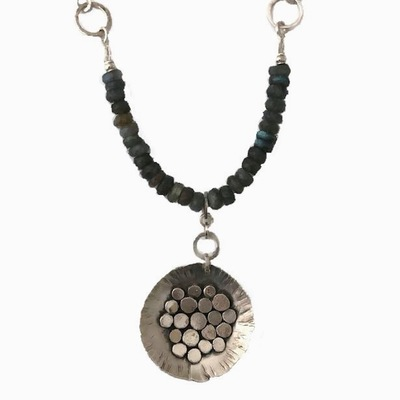 JOANNA CRAFT - LABRADORITE BEAD WITH SIVLER CIRCLE NECKLACE - STERLING SILVER & GEMSTONE