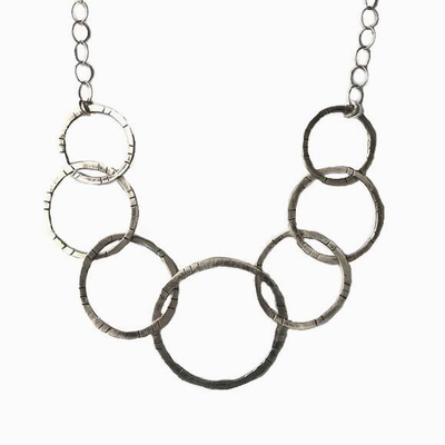 JOANNA CRAFT - 7 OPEN CIRCLES SILVER NECKLACE - STERLING SILVER