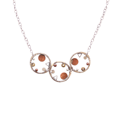 JOANNA CRAFT - COPPER ACCENT ON SILVER NECKLACE W/ THREE CIRCLES - MIXED METALS