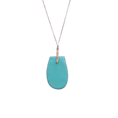 JOANNA CRAFT - TEAL ENAMEL NECKLACE - SILVER & ENAMEL