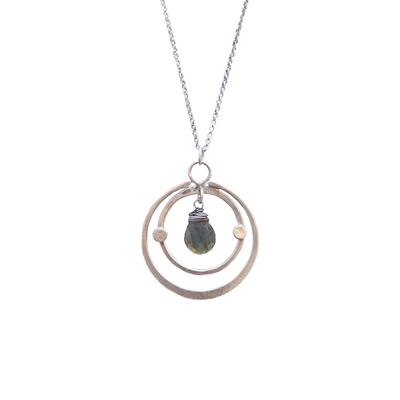 JOANNA CRAFT - DOUBLE CIRCLE SILVER NECKLACE W/ LABRADORITE DROP - SILVER & GEMSTONE