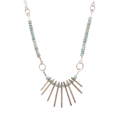 JOANNA CRAFT - AQUAMARINE LUSTER W/ SILVER STICKS NECKLACE - SILVER & GEMSTONES