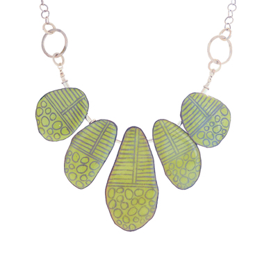 JOANNA CRAFT - LIME GREEN PENDANTS ON SILVER NECKLACE - SILVER & ENAMEL