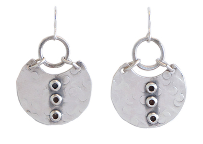 JOANNA CRAFT - SILVER DROP EARRING WITH CIRCLE DETAIL - STERLING