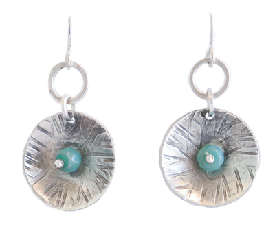 JOANNA CRAFT - ROUND SILVER EARRINGS WITH CHRYSOPRASE CENTER - STERLING