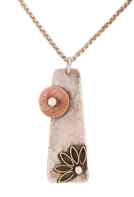 JOANNA CRAFT - SILVER NECKLACE WITH COPPER CIRCLE AND FLOWER - STERLING