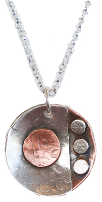 JOANNA CRAFT - SMALL MIXED METAL NECKLACE WITH GEOMETRIC DESIGN - STERLING SILVER & COPPER