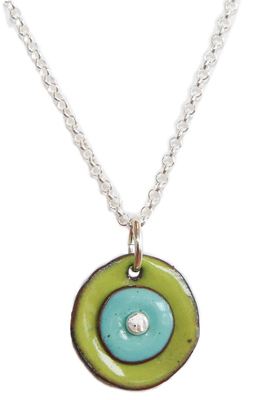 JOANNA CRAFT - GREEN & BLUE ENAMEL ROUND NECKLACE - STERLING & ENAMEL