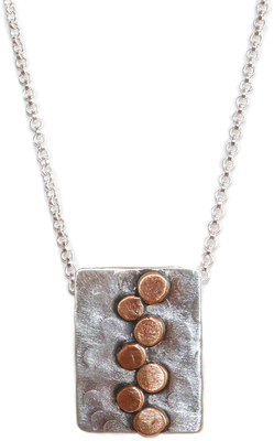 JOANNA CRAFT - MIXED METAL RECTANGULAR PENDANT WITH CIRCLE PATTERN - STERLING & BRONZE