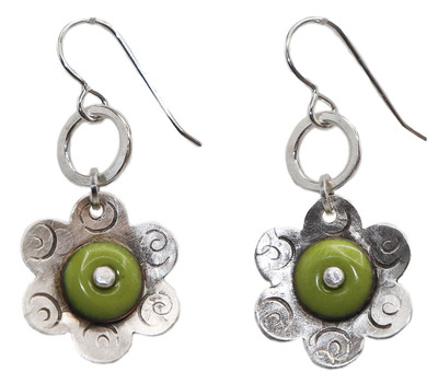 JOANNA CRAFT - GREEN ENAMEL & SILVER FLOWER EARRINGS - STERLING