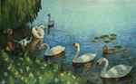 JOHNSON AND FANCHER - KIDS FEEDING SWANS - MIXED MEDIA ON PAPER - 22.5 X 14