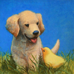 JOHNSON AND FANCHER - PUPPY AND CHICK - OIL ON PAPER - 11 X 11