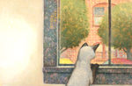 JOHNSON AND FANCHER - CAT AT WINDOW - MIXED MEDIA - 12 X 11.5
